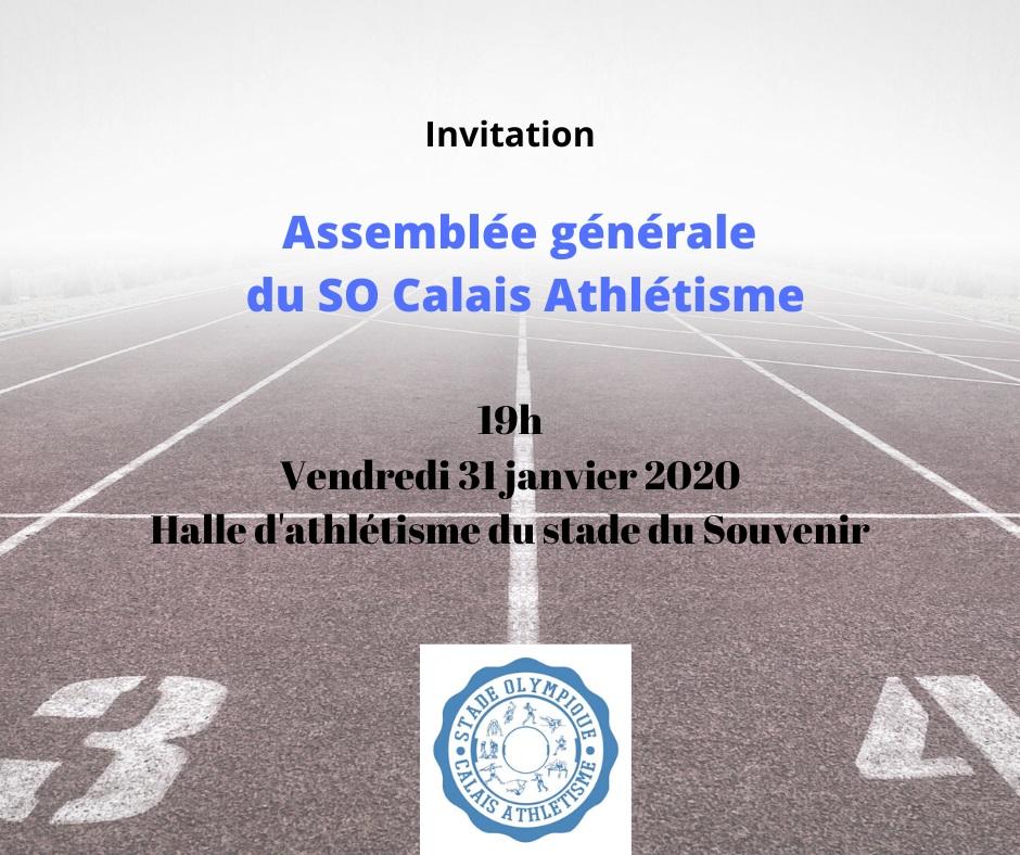 Assemblée générale du SO Calais Athlétisme le vendredi 31 janvier 2020