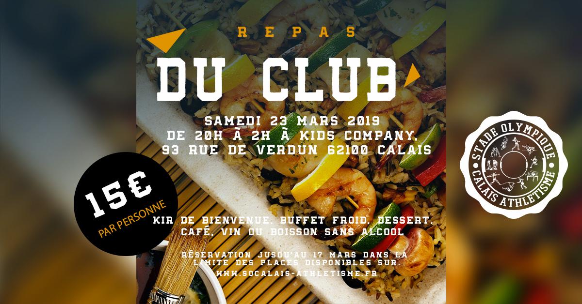 Réservez vos places pour le repas annuel du club